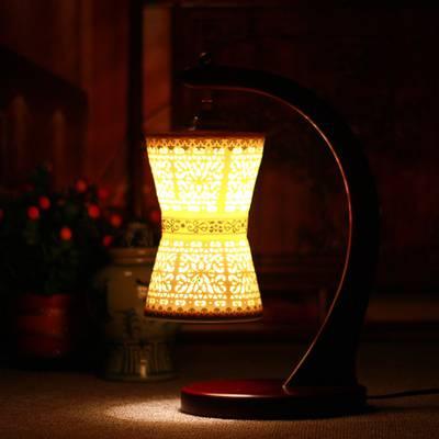 景德镇仿古典雅薄胎镂空陶瓷卧室床头灯台灯 定制陶瓷灯罩