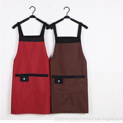 绘画家用家务保护耐磨口袋背防水围裙干煮饭炒菜厨房用品洗衣透气
