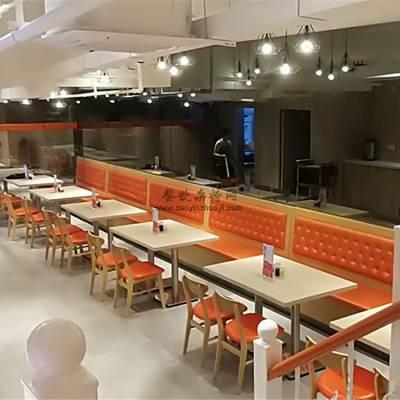 浙江茶餐厅家具定做,茶餐厅靠墙卡座沙发桌子案例