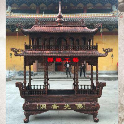 两层长方形八龙柱铸铁香炉/福建莆田寺庙道观香炉供应商