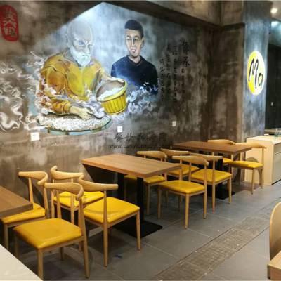 成都木桶饭快餐店桌椅,时尚新式快餐厅家具订制