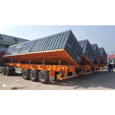 11米长1.8米高一体式侧翻自卸半挂车价格 报价。全国办里各种半挂车分期付款