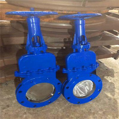 不锈钢带盖DMZ73H-10P DN50适用于污水煤气不锈钢暗杆刀型闸阀手动插板阀