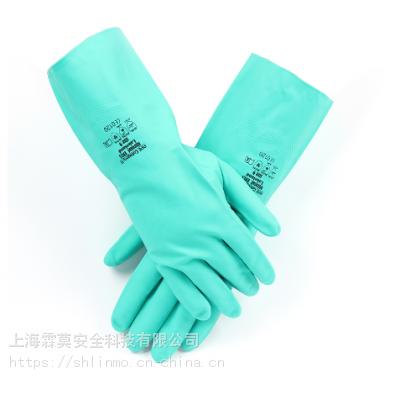 舒适性丁腈防化手套弱酸弱碱防化手套绿色丁腈手套