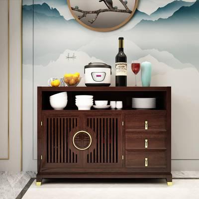 新中式实木厨房餐边柜储物柜禅意家具 家用饭厅带抽屉厨柜碗碟柜