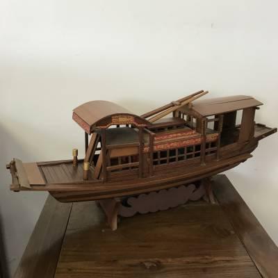 红船模型 办公桌装饰摆件 实木红船 小型景观船