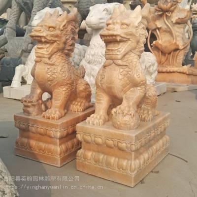 供应石雕麒麟_ 晚霞红神兽麒麟 公司门口貔貅装饰雕塑 英翰雕刻直销
