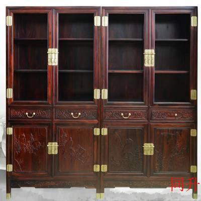大红酸枝交趾黄檀书房书柜