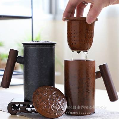 快客杯创意过滤黑陶杯子个性粗陶水杯办公杯定制带盖大容量马克杯