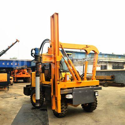 新款铲车式公路护栏打桩机 装载机式公路护栏打拔钻一体机厂家