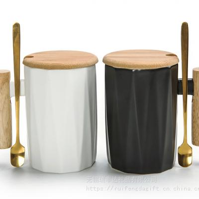 马克杯创意黑白水杯咖啡杯办公室杯 木手柄陶瓷杯定制logo 礼品水杯定制