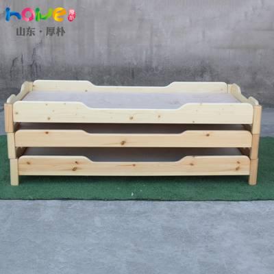 幼儿园床简约现代可批发定制 山东厚朴儿童实木午睡重叠床