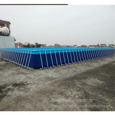 大型支架水池子价格 夏天玩水娱乐设施钢架泳池 水滑梯配1米高的支架水池行吗