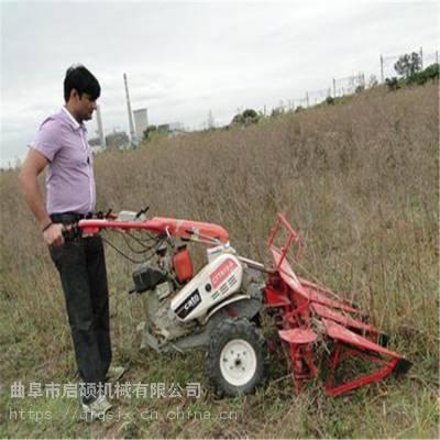 启硕小型多功能柴油割晒机 玉米收割机质保 手推式牧草晒割机