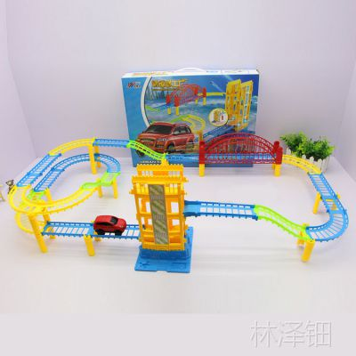338-45厂家热销交通卡通车电动轨道乐园儿童益智玩具拼装地摊热卖