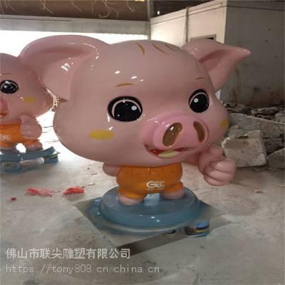 佛山生肖卡通猪雕塑造型摆件-联尖定制厂家