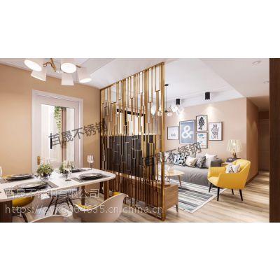 不锈钢屏风隔断金属玫瑰金售楼处镂空雕花屏风中式客厅花格专业定制
