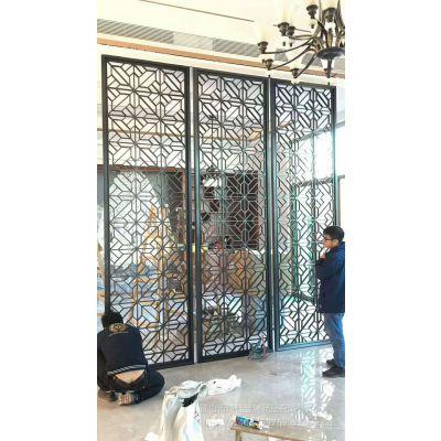 黑钛拉丝不锈钢屏风 不锈钢花格 酒店镂空隔断