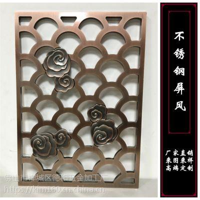 客厅铝雕屏风 镂空雕花 浮雕古铜色 bxg160 金属工艺屏风厂家