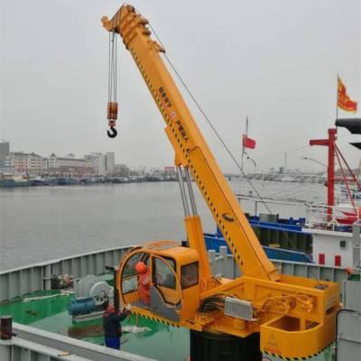 液压码头吊机 加固大架船吊定制 启翔伸缩臂小型船吊