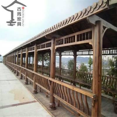 文化宫广场木质长廊 仿古休闲走廊 直行防腐木连廊