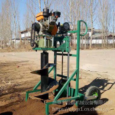 种树四轮挖坑机视频 佳鑫手推汽油钻眼机 大直径打洞机