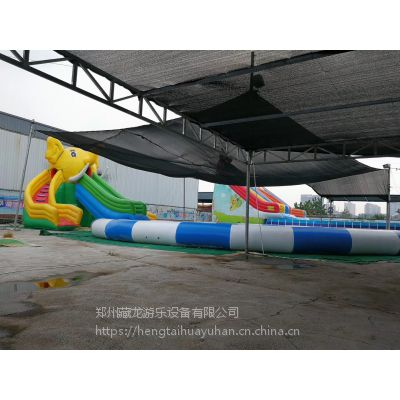 新款水上乐园水滑梯 孩子在水池玩的水滑梯哪买 充气水池水滑梯套餐价格