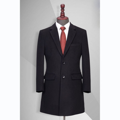 TL500770贵州男大衣定做黑色50%羊毛西装领单排两扣中长款男大衣