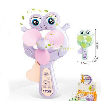 6610创意卡通眨眼青蛙风扇儿童迷你手摇小风扇玩具批发礼物