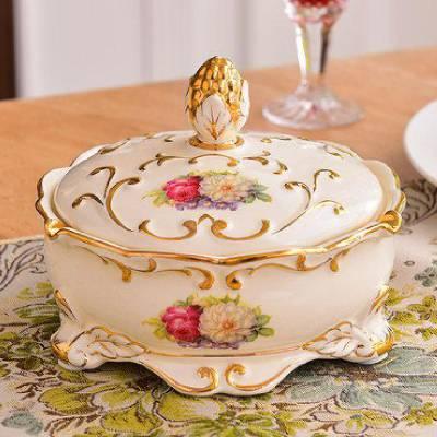 家居时尚奢华欧式复古雪茄烟灰缸创意 客厅陶瓷烟缸大号裂纹釉