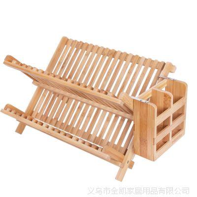 沥水架 厂家直销实木楠竹厨房桌面收纳架 定制杯架碗垫碟盘沥水架