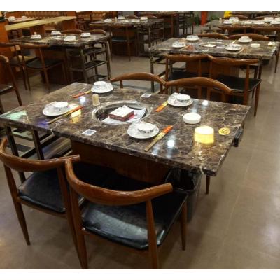 定做四人位火锅桌电磁炉用火锅桌烤肉自助餐桌椅生产工厂典艺坊家具供应