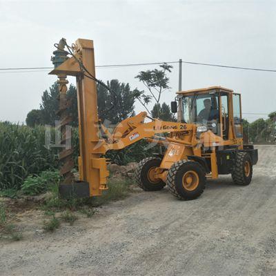 装载机式电线杆打桩机 全液压路灯杆打桩机 电线杆挖坑机速度快