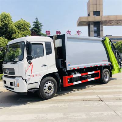 东风天锦14方挂桶压缩垃圾车