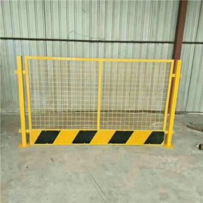临边围栏样式@工具化格栅式基坑防护栏@电梯井口用铁板对开门
