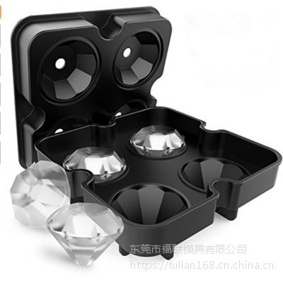 硅胶冰格 4连钻石冰模 适用于茶厅酒吧等 厂家现货跨境爆款