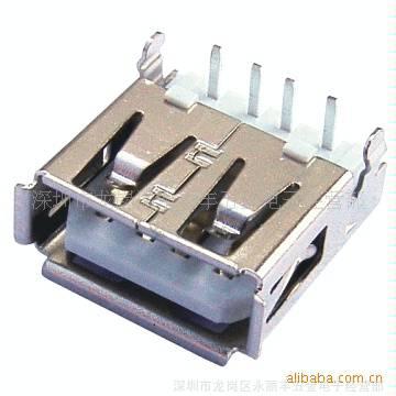 (厂家直销)USB 连接器,USB AF 90° 沉板两点,USB  A母 插座