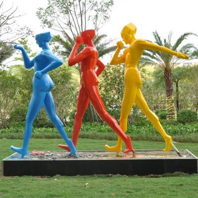 现货人物雕塑落地摆件 创意个性玻璃钢运动人户外景观 饰品可定制