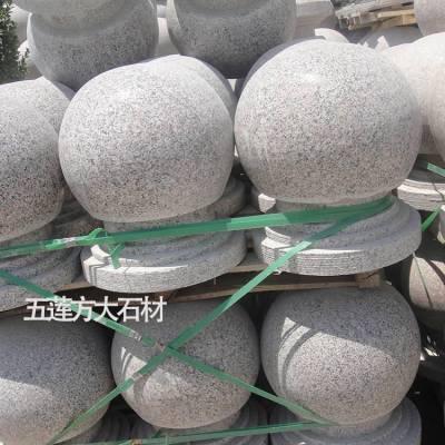 石头球多少钱一个,芝麻灰圆形带底座石头挡车球,隔离石球批发