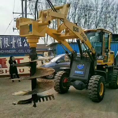 赣州植树挖坑机铲车改装价格 轮式光伏电缆打桩机配置