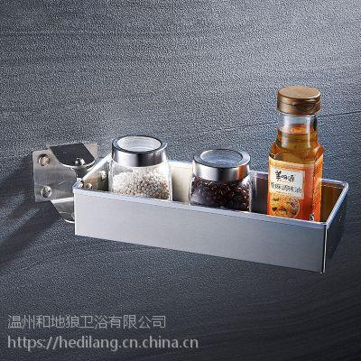 和地狼单层旋转式厨房置物架SUS304不锈钢调味料架打孔jh-8001