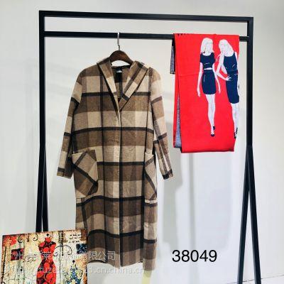 杭州网红爆款双面呢大衣百搭时尚女装品牌折扣库存批发
