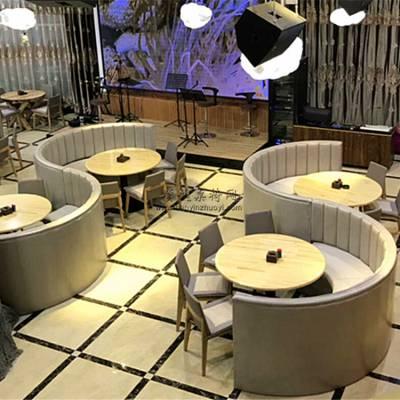 宁德音乐主题餐吧卡座沙发桌子定做,S型沙发餐桌椅组合