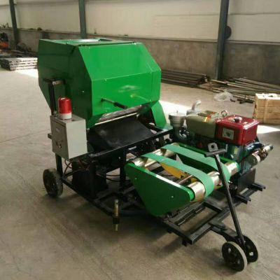 青贮玉米秸秆收割粉碎打捆机 自动裹膜捆草机 全自动打捆包膜机