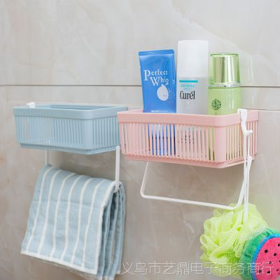 居家免打孔浴室置物架 卫生间塑料壁挂架子收纳架洗漱专利产品