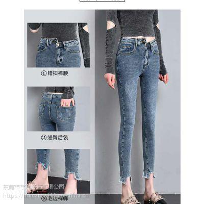 今年最时尚好看的小脚牛仔短裤批发 2019年韩版潮流破洞乞丐牛仔裤大量供应
