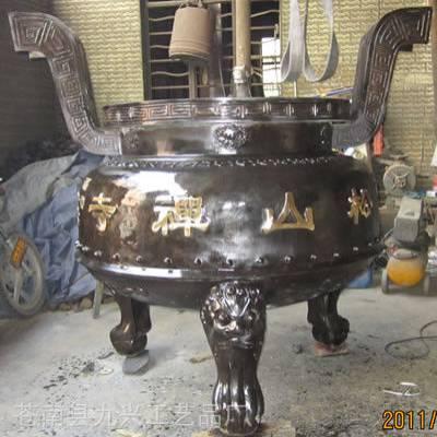 长方形插香香炉 道观大香炉 道教四龙柱铸铁香炉