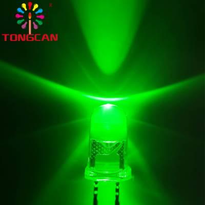 厂家直销包邮交通信号灯LED专用直插灯珠5mm圆形有边翠绿光透明超高亮发光60度角