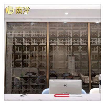 中式不锈钢屏风 客厅背景墙玄关镂空花格装饰工程定制