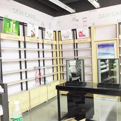 广州厂家展柜生产定制化妆品展柜新款钢木展示柜日化店货架铁木柜